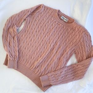 American Apparel Pink Cable Knit Sweater